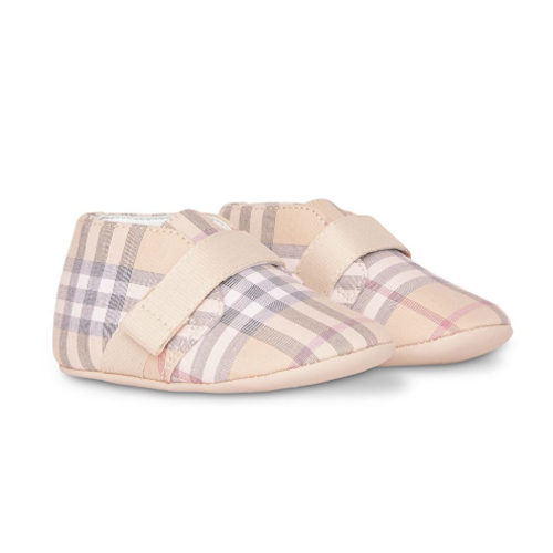 Check Cotton and Leather Shoes - Burberry Kids
