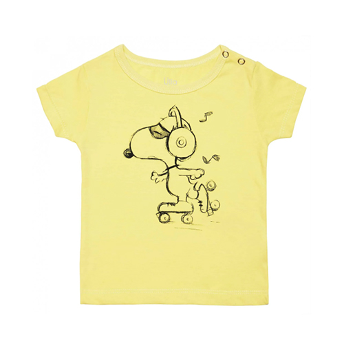 T-Shirt Snoopy Patins - Amarelo